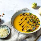 Reupload | Kürbis-Käse-Suppe mit gerösteten Kichererbsen