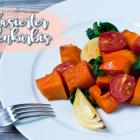 Glasierter Ofenkürbis mit Tomaten