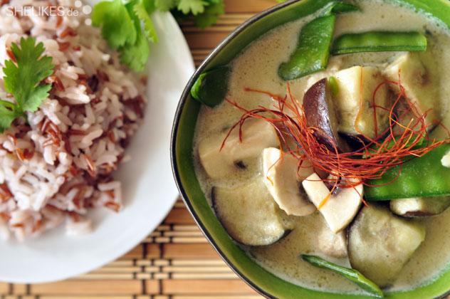 Grünes Curry mit Rotem Reis